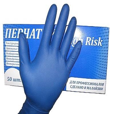 Перчатки смотровые латексные сверхпрочные синие HIGH RISK L, арт.: г00623